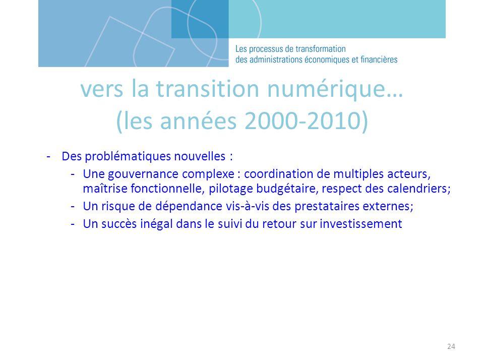 24 -Des problématiques nouvelles : -Une gouvernance complexe : coordination de multiples acteurs, maîtrise fonctionnelle, pilotage budgétaire, respect des calendriers; -Un risque de dépendance vis-à-vis des prestataires externes; -Un succès inégal dans le suivi du retour sur investissement vers la transition numérique… (les années 2000-2010)