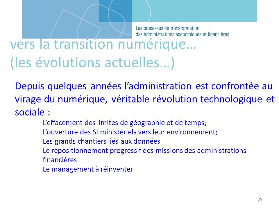 29 vers la transition numérique… (les évolutions actuelles…) Depuis quelques années ladministration est confrontée au virage du numérique, véritable r