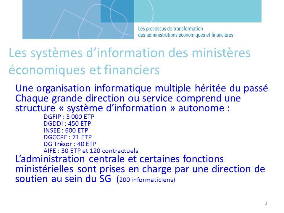 3 Les systèmes dinformation des ministères économiques et financiers Une organisation informatique multiple héritée du passé Chaque grande direction o