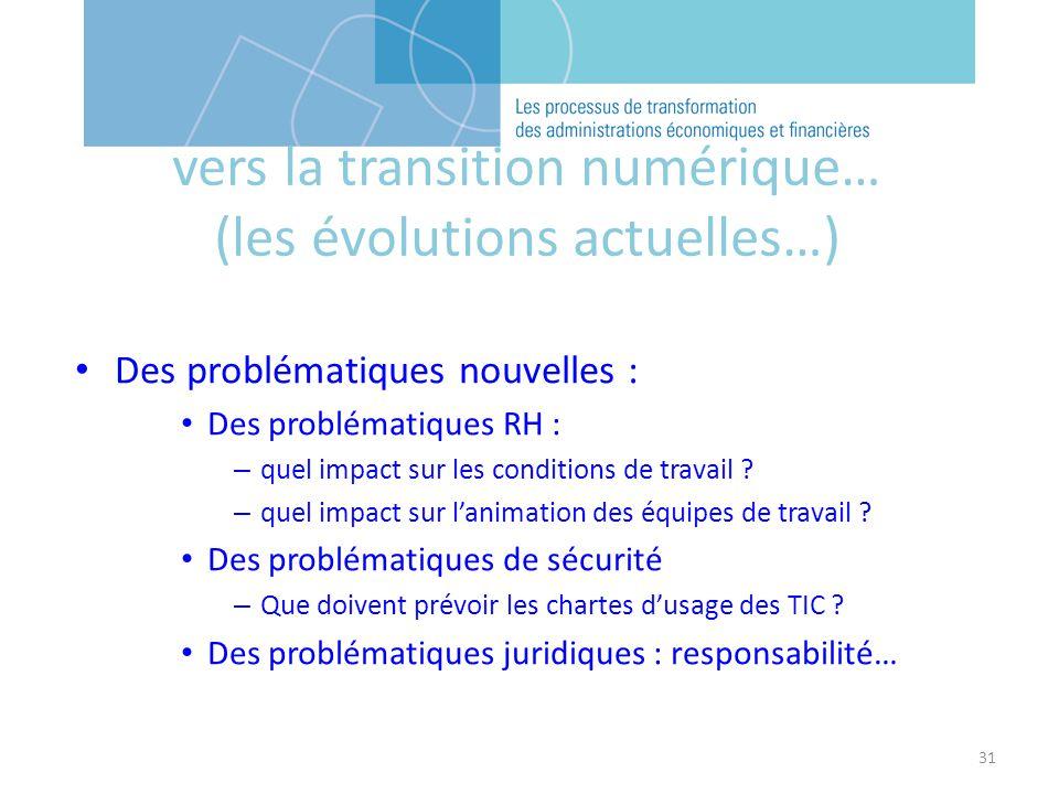 31 Des problématiques nouvelles : Des problématiques RH : – quel impact sur les conditions de travail .