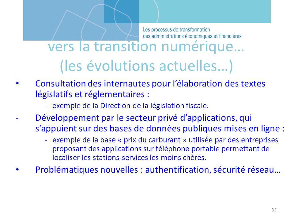 33 Consultation des internautes pour lélaboration des textes législatifs et réglementaires : -exemple de la Direction de la législation fiscale. -Déve