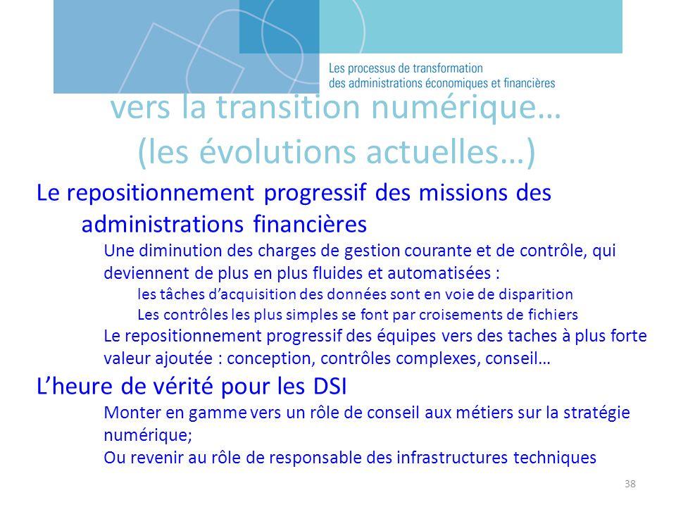 38 vers la transition numérique… (les évolutions actuelles…) Le repositionnement progressif des missions des administrations financières Une diminutio