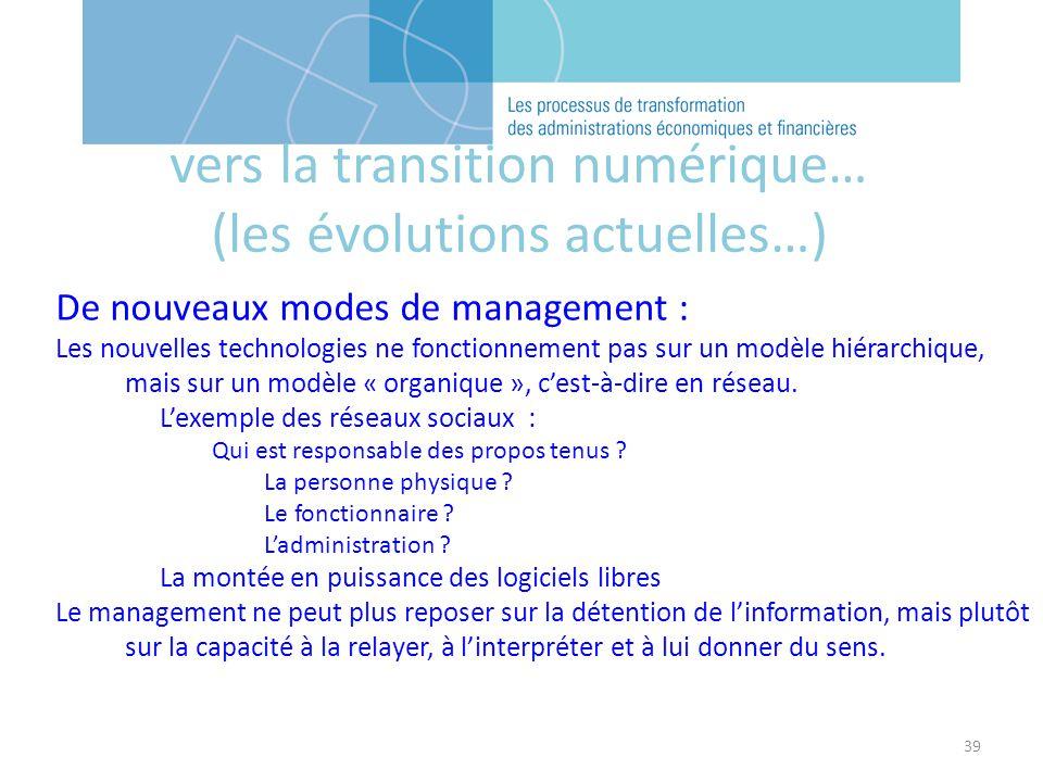 39 vers la transition numérique… (les évolutions actuelles…) De nouveaux modes de management : Les nouvelles technologies ne fonctionnement pas sur un modèle hiérarchique, mais sur un modèle « organique », cest-à-dire en réseau.