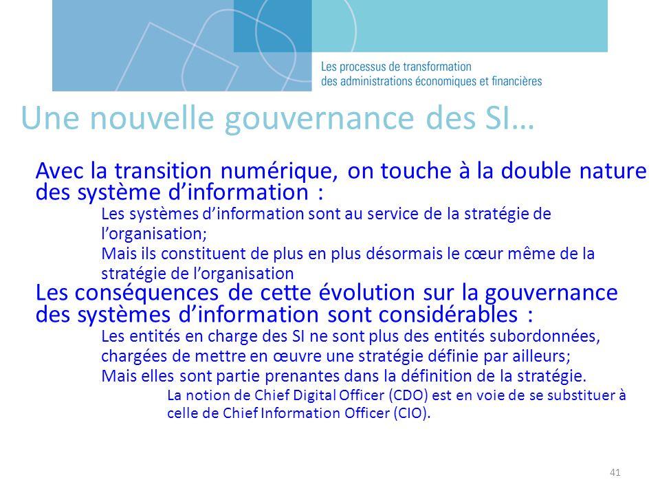 41 Une nouvelle gouvernance des SI… Avec la transition numérique, on touche à la double nature des système dinformation : Les systèmes dinformation so