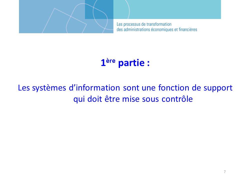 7 1 ère partie : Les systèmes dinformation sont une fonction de support qui doit être mise sous contrôle