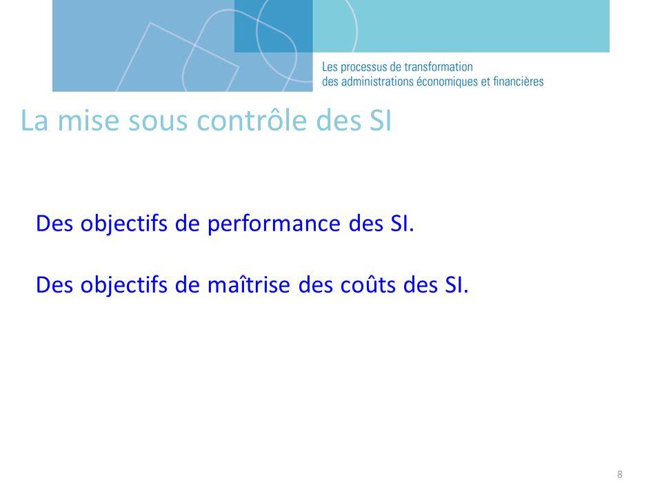 8 La mise sous contrôle des SI Des objectifs de performance des SI. Des objectifs de maîtrise des coûts des SI.
