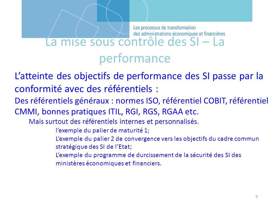 9 Latteinte des objectifs de performance des SI passe par la conformité avec des référentiels : Des référentiels généraux : normes ISO, référentiel COBIT, référentiel CMMI, bonnes pratiques ITIL, RGI, RGS, RGAA etc.
