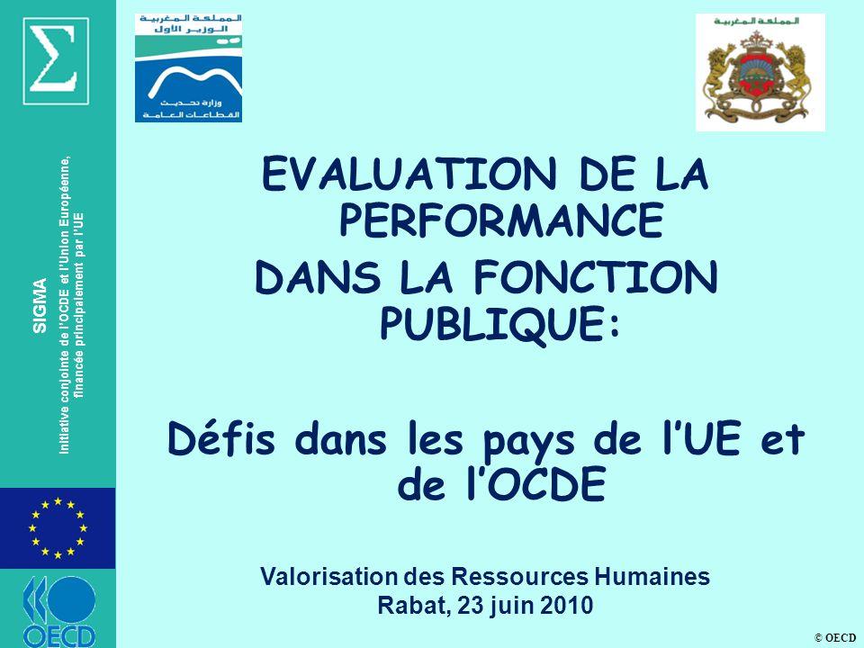© OECD SIGMA Initiative conjointe de lOCDE et lUnion Européenne, financée principalement par lUE EVALUATION DE LA PERFORMANCE DANS LA FONCTION PUBLIQUE: Défis dans les pays de lUE et de lOCDE Valorisation des Ressources Humaines Rabat, 23 juin 2010