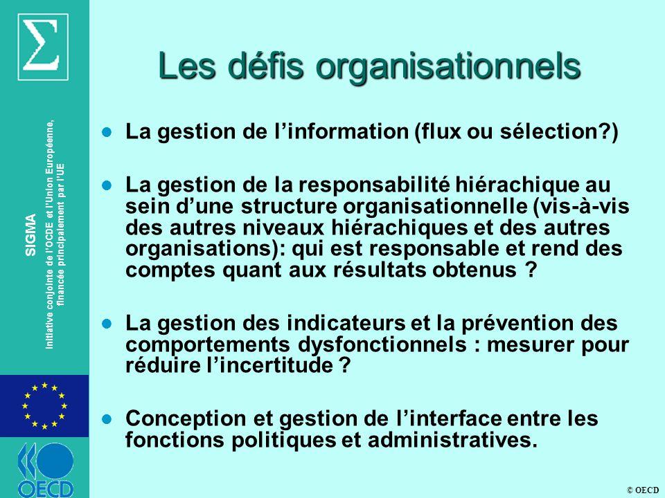 © OECD SIGMA Initiative conjointe de lOCDE et lUnion Européenne, financée principalement par lUE Les défis organisationnels l La gestion de linformation (flux ou sélection ) l La gestion de la responsabilité hiérachique au sein dune structure organisationnelle (vis-à-vis des autres niveaux hiérachiques et des autres organisations): qui est responsable et rend des comptes quant aux résultats obtenus .