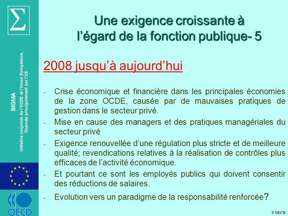 © OECD SIGMA Initiative conjointe de lOCDE et lUnion Européenne, financée principalement par lUE Une exigence croissante à légard de la fonction publique- 5 2008 jusquà aujourdhui - Crise économique et financière dans les principales économies de la zone OCDE, causée par de mauvaises pratiques de gestion dans le secteur privé.