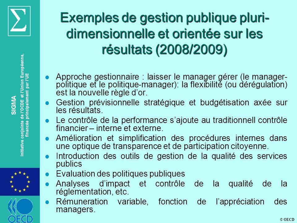 © OECD SIGMA Initiative conjointe de lOCDE et lUnion Européenne, financée principalement par lUE Exemples de gestion publique pluri- dimensionnelle et orientée sur les résultats (2008/2009) l Approche gestionnaire : laisser le manager gérer (le manager- politique et le politique-manager): la flexibilité (ou dérégulation) est la nouvelle règle dor.