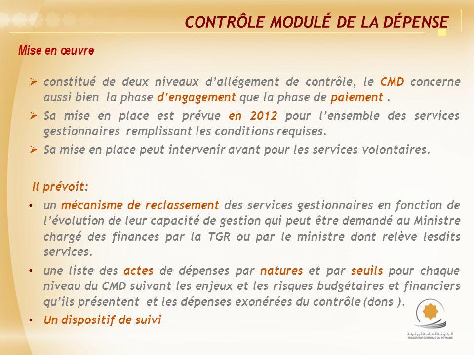 Mise en œuvre CONTRÔLE MODULÉ DE LA DÉPENSE constitué de deux niveaux dallégement de contrôle, le CMD concerne aussi bien la phase dengagement que la phase de paiement.