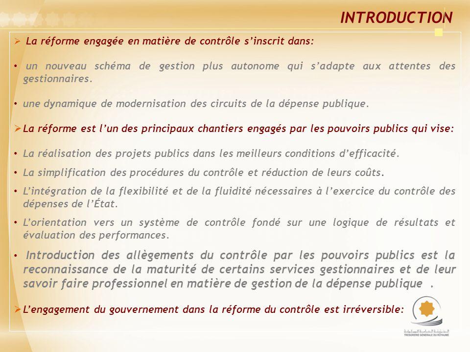 INTRODUCTION La réforme engagée en matière de contrôle sinscrit dans: un nouveau schéma de gestion plus autonome qui sadapte aux attentes des gestionn
