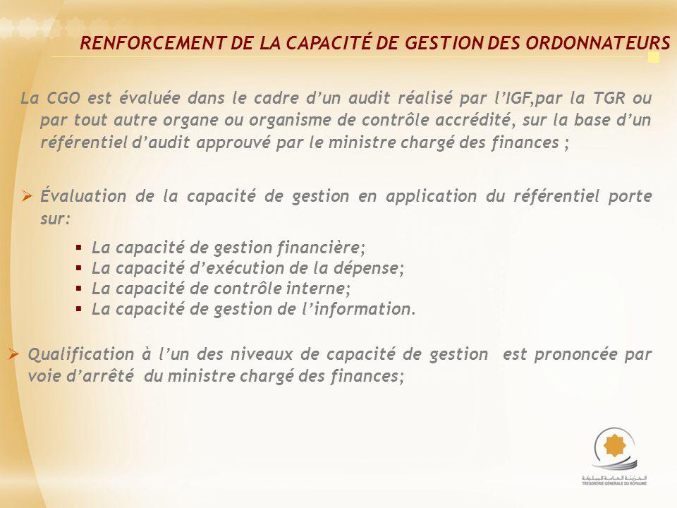La CGO est évaluée dans le cadre dun audit réalisé par lIGF,par la TGR ou par tout autre organe ou organisme de contrôle accrédité, sur la base dun référentiel daudit approuvé par le ministre chargé des finances ; Évaluation de la capacité de gestion en application du référentiel porte sur: La capacité de gestion financière; La capacité dexécution de la dépense; La capacité de contrôle interne; La capacité de gestion de linformation.