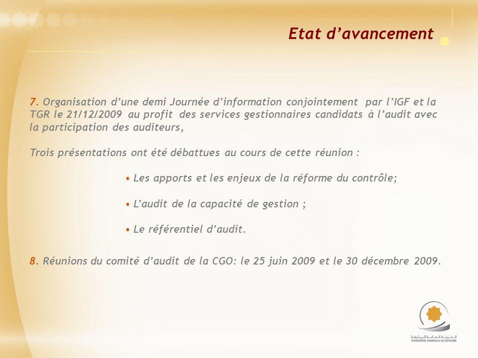 Etat davancement 7. Organisation dune demi Journée dinformation conjointement par lIGF et la TGR le 21/12/2009 au profit des services gestionnaires ca