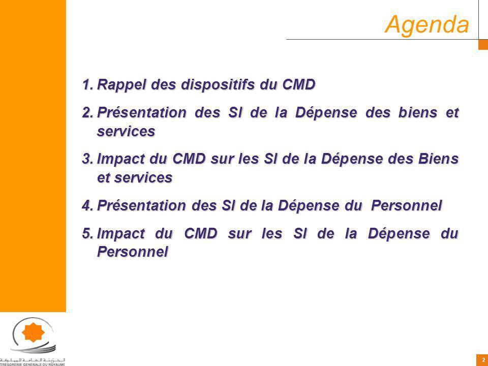 2 2 Agenda 1.Rappel des dispositifs du CMD 2.Présentation des SI de la Dépense des biens et services 3.Impact du CMD sur les SI de la Dépense des Biens et services 4.Présentation des SI de la Dépense du Personnel 5.Impact du CMD sur les SI de la Dépense du Personnel