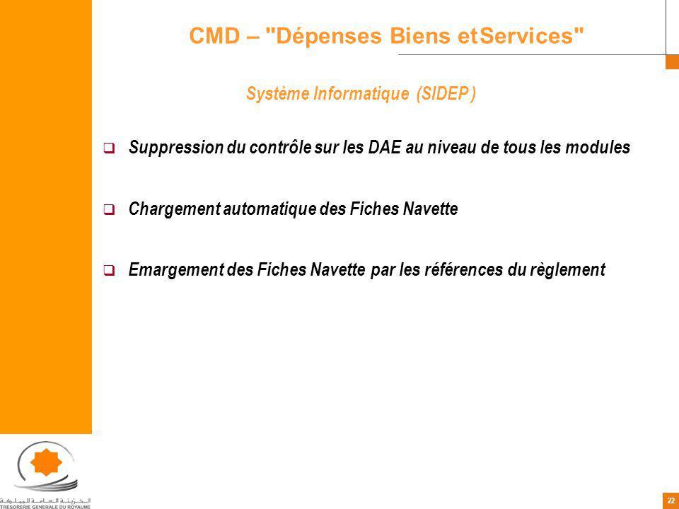 22 Système Informatique (SIDEP ) Suppression du contrôle sur les DAE au niveau de tous les modules Chargement automatique des Fiches Navette Emargement des Fiches Navette par les références du règlement CMD – Dépenses Biens et Services