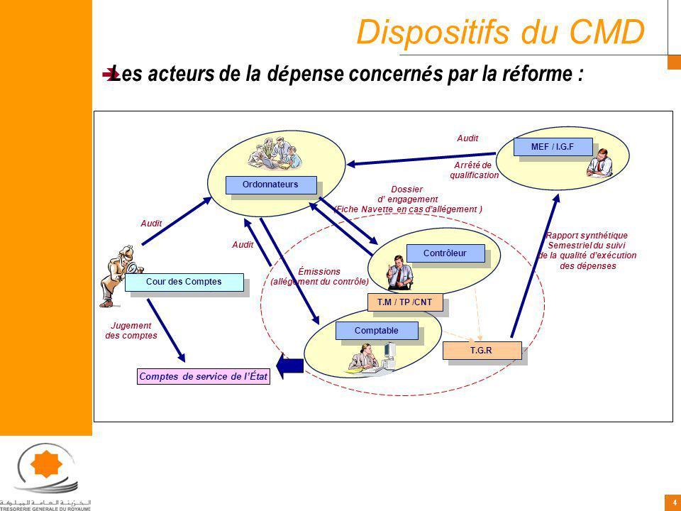 4 4 Les acteurs de la d é pense concern é s par la r é forme : Ordonnateurs Comptable Contrôleur Cour des Comptes MEF / I.G.F T.M / TP /CNT Audit T.G.
