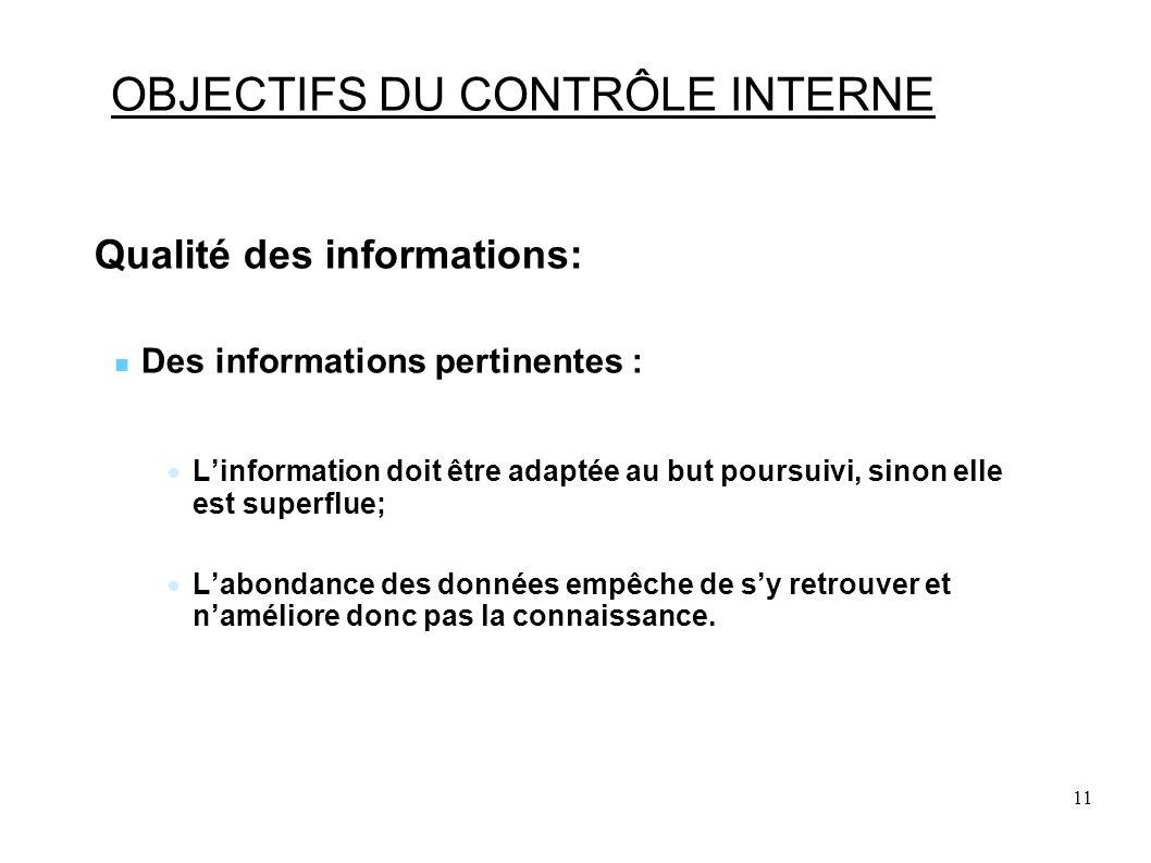 11 OBJECTIFS DU CONTRÔLE INTERNE Qualité des informations: Des informations pertinentes : Linformation doit être adaptée au but poursuivi, sinon elle est superflue; Labondance des données empêche de sy retrouver et naméliore donc pas la connaissance.