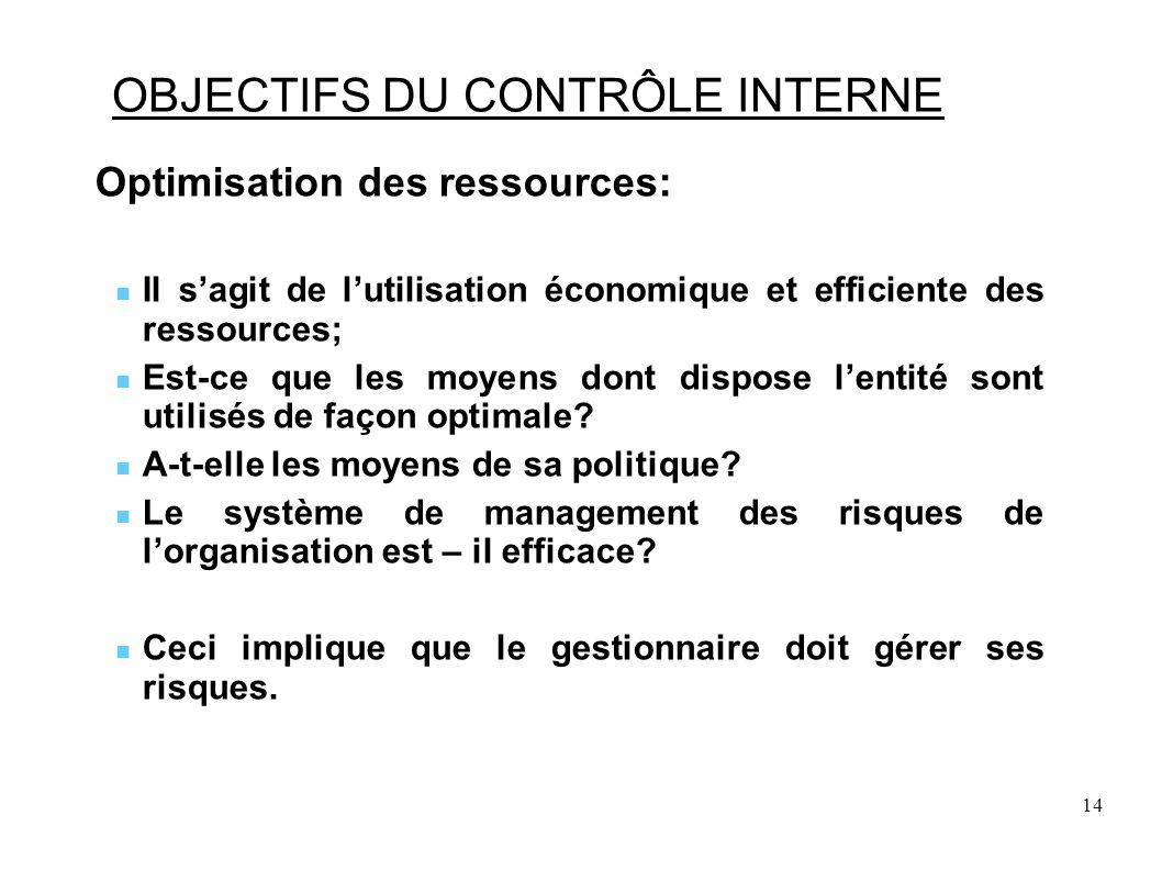 14 OBJECTIFS DU CONTRÔLE INTERNE Optimisation des ressources: Il sagit de lutilisation économique et efficiente des ressources; Est-ce que les moyens dont dispose lentité sont utilisés de façon optimale.