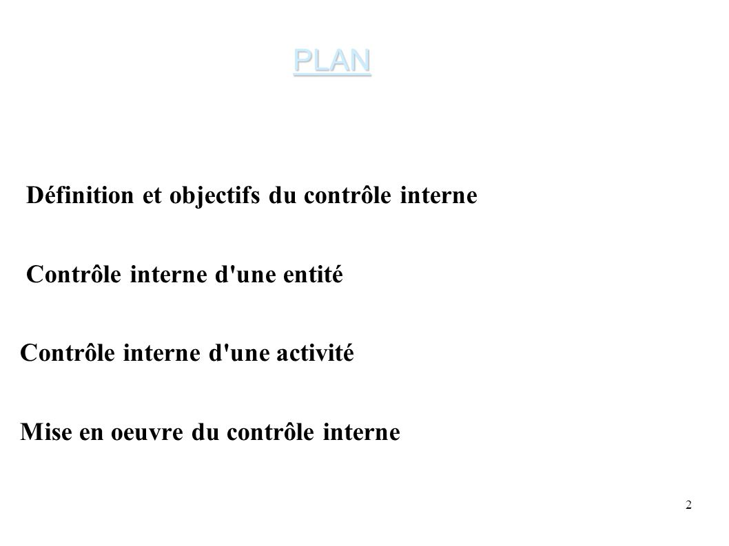 2 Définition et objectifs du contrôle interne Contrôle interne d une entité Contrôle interne d une activité Mise en oeuvre du contrôle interne PLAN