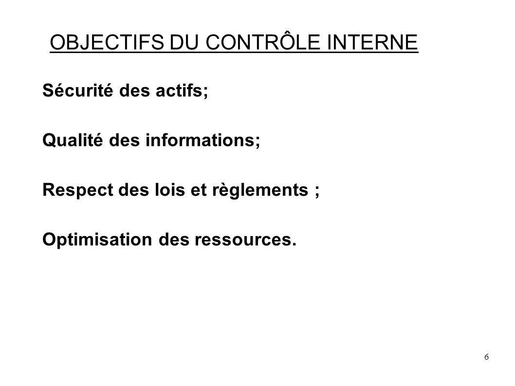 47 CONTRÔLE INTERNE DUNE ACTIVITE Les dispositifs du contrôle interne: Les systèmes dinformation et de pilotage qui englobent le contrôle de gestion et le contrôle budgétaire, le tableau de bord ainsi que toutes les données statistiques utiles à la gestion.