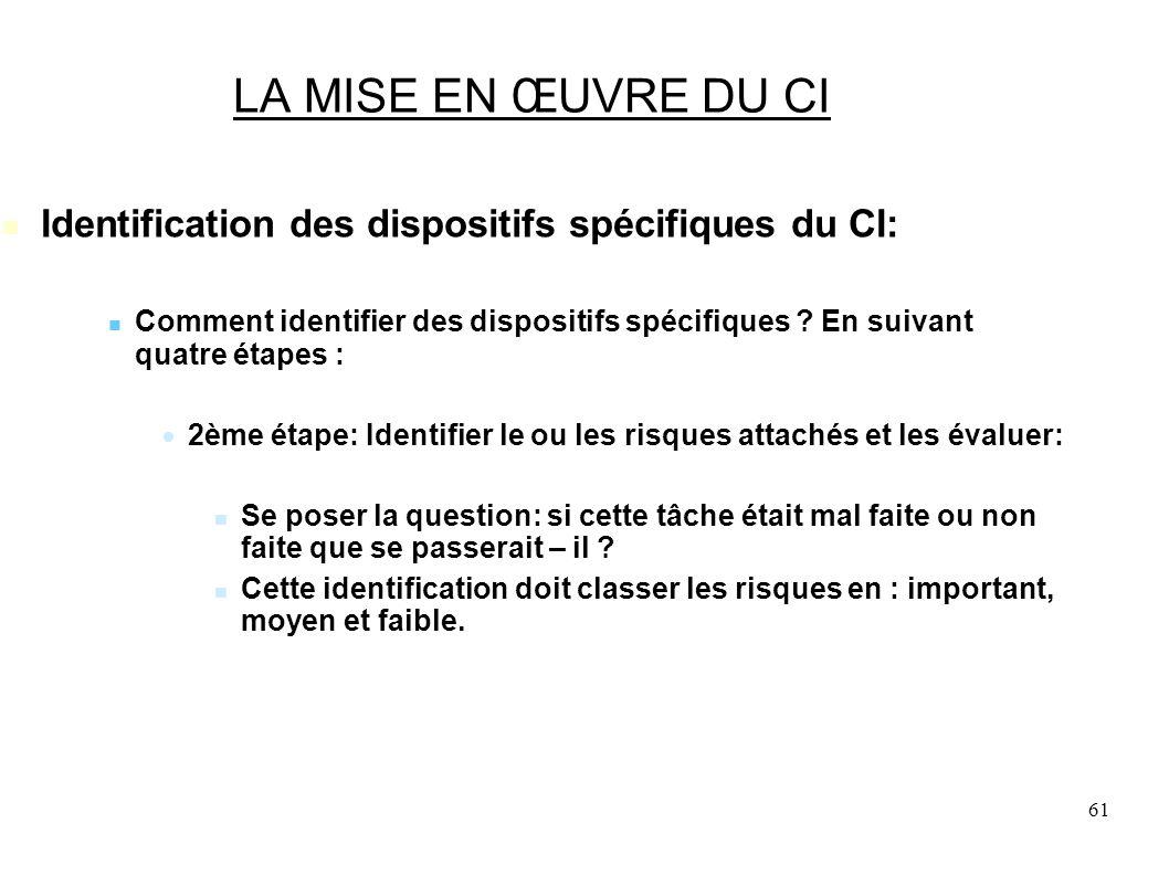 61 LA MISE EN ŒUVRE DU CI Identification des dispositifs spécifiques du CI: Comment identifier des dispositifs spécifiques .