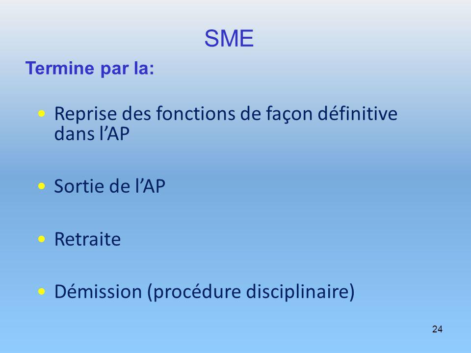 24 SME Reprise des fonctions de façon définitive dans lAP Sortie de lAP Retraite Démission (procédure disciplinaire) Termine par la: