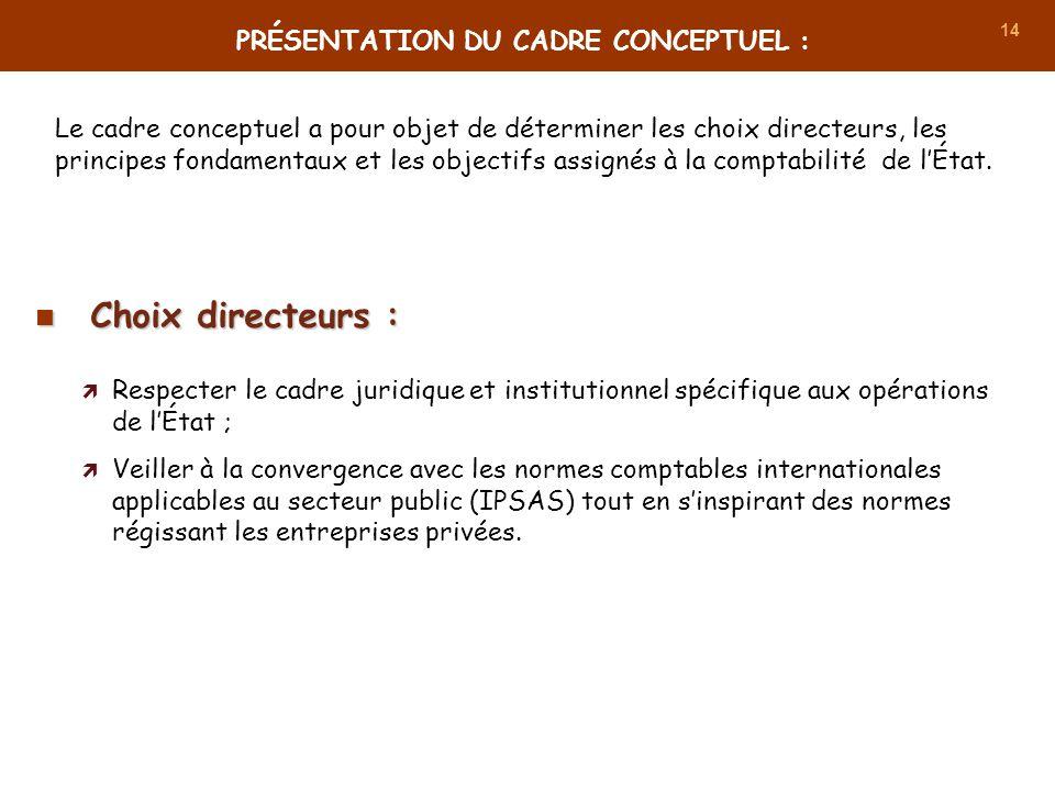 14 Le cadre conceptuel a pour objet de déterminer les choix directeurs, les principes fondamentaux et les objectifs assignés à la comptabilité de lÉta