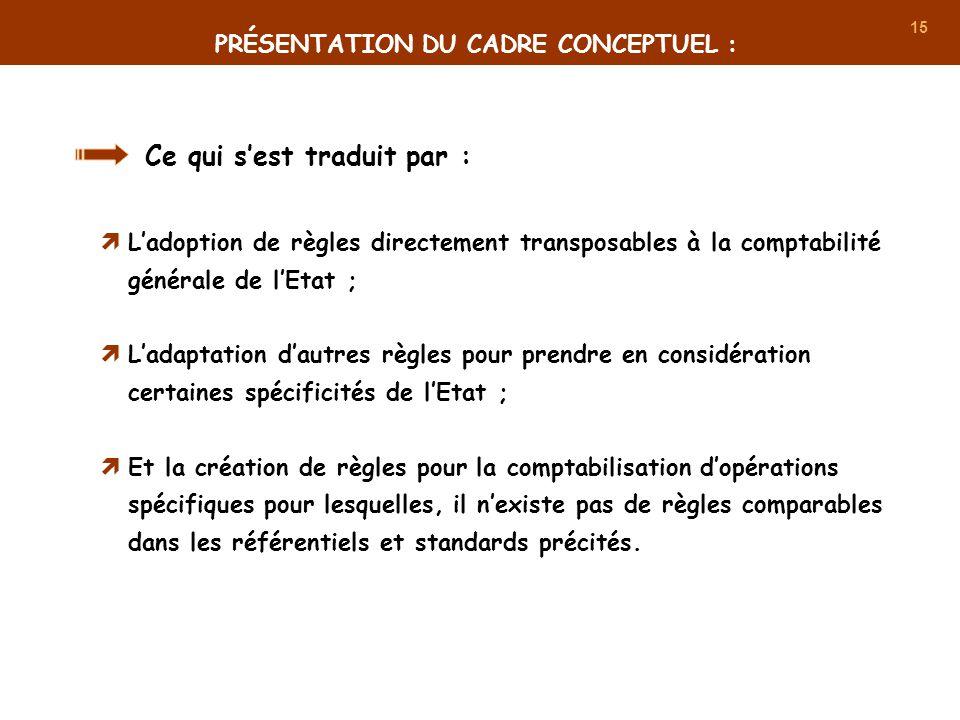 15 Ce qui sest traduit par : Ladoption de règles directement transposables à la comptabilité générale de lEtat ; Ladaptation dautres règles pour prend