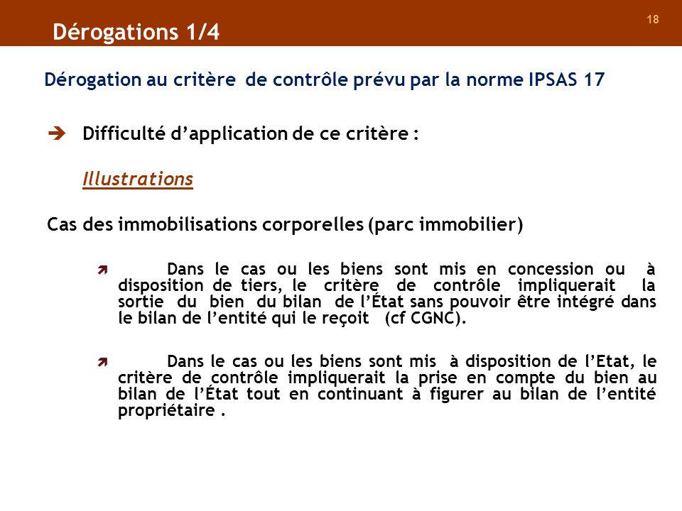 18 Dérogation au critère de contrôle prévu par la norme IPSAS 17 Difficulté dapplication de ce critère : Illustrations Cas des immobilisations corpore