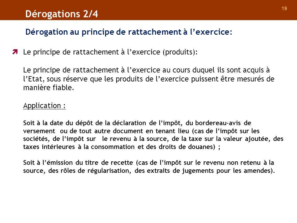 19 Dérogation au principe de rattachement à lexercice: Dérogations 2/4 Le principe de rattachement à lexercice (produits): Le principe de rattachement