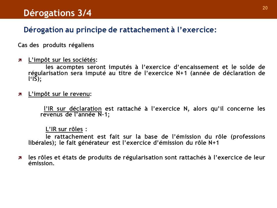 20 Dérogation au principe de rattachement à lexercice: Dérogations 3/4 Cas des produits régaliens Limpôt sur les sociétés: les acomptes seront imputés