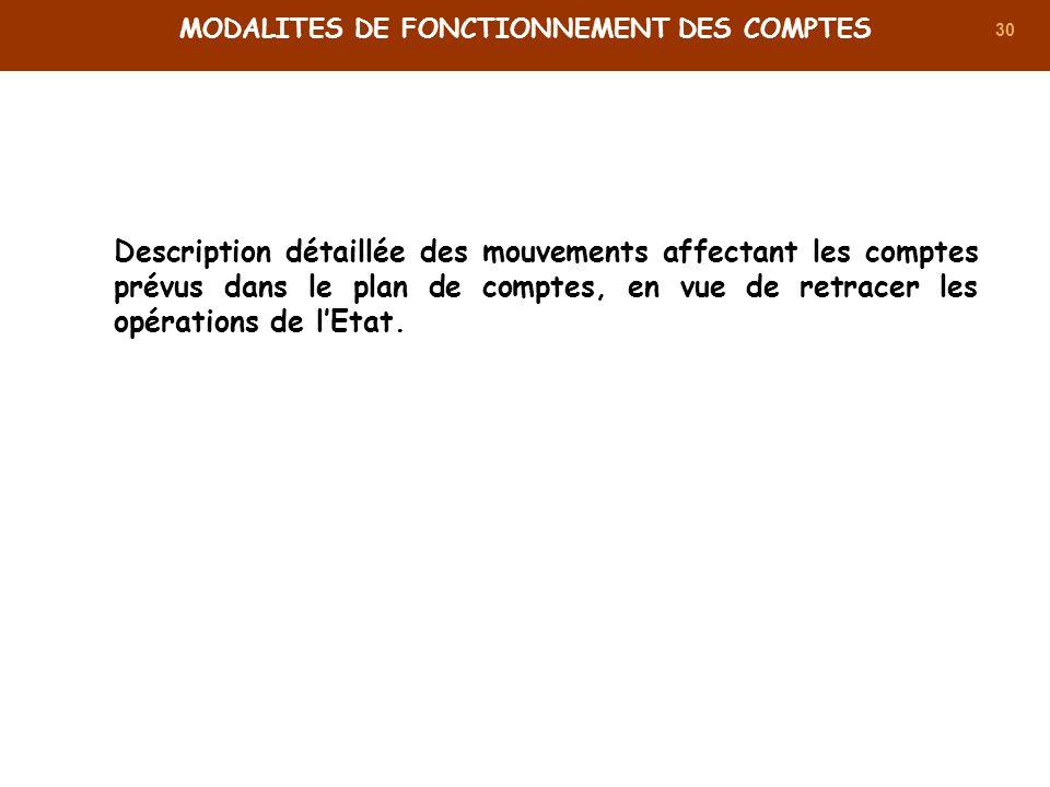 30 MODALITES DE FONCTIONNEMENT DES COMPTES Description détaillée des mouvements affectant les comptes prévus dans le plan de comptes, en vue de retrac