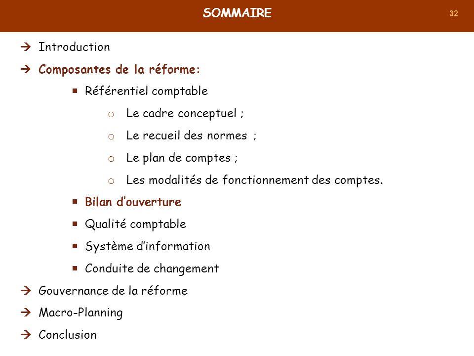 32 SOMMAIRE Introduction Composantes de la réforme: Référentiel comptable o Le cadre conceptuel ; o Le recueil des normes ; o Le plan de comptes ; o L