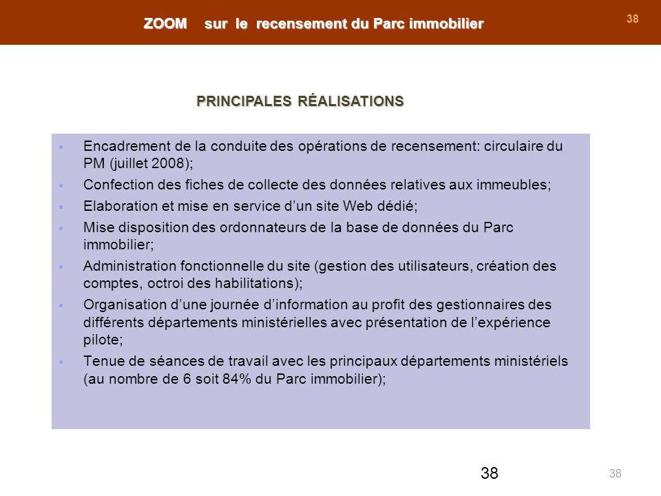 38 Encadrement de la conduite des opérations de recensement: circulaire du PM (juillet 2008); Confection des fiches de collecte des données relatives