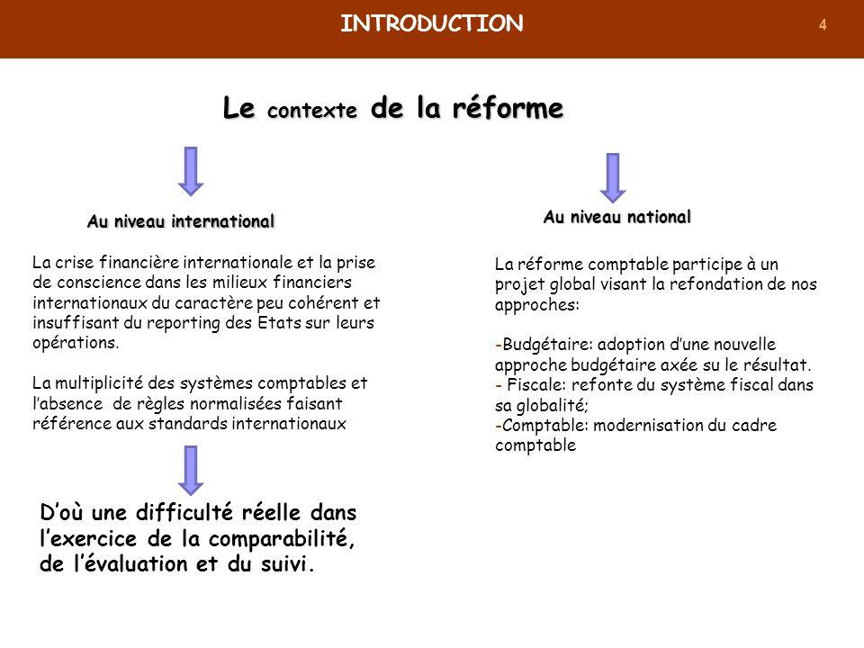 4 Le contexte de la réforme INTRODUCTION Au niveau international La crise financière internationale et la prise de conscience dans les milieux financi