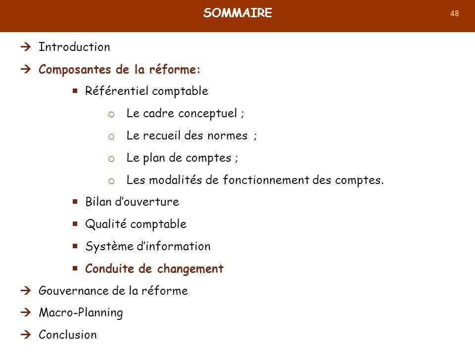 48 SOMMAIRE Introduction Composantes de la réforme: Référentiel comptable o Le cadre conceptuel ; o Le recueil des normes ; o Le plan de comptes ; o L