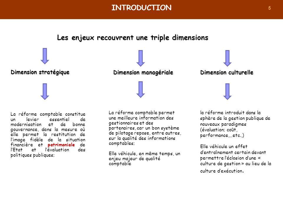 5 Les enjeux recouvrent une triple dimensions INTRODUCTION Dimension stratégique La réforme comptable constitue un levier essentiel de modernisation e
