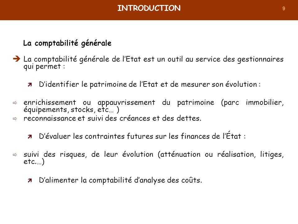 9 La comptabilité générale de lEtat est un outil au service des gestionnaires qui permet : Didentifier le patrimoine de lEtat et de mesurer son évolut