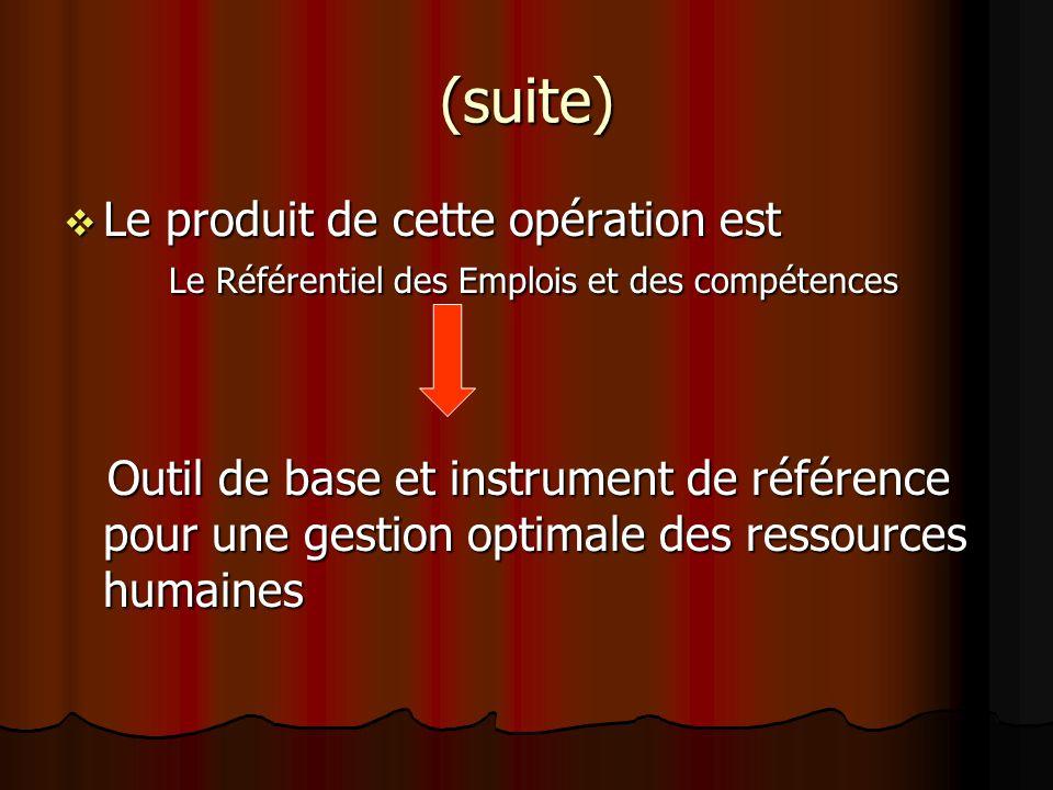 (suite) Le produit de cette opération est Le Référentiel des Emplois et des compétences Le produit de cette opération est Le Référentiel des Emplois e