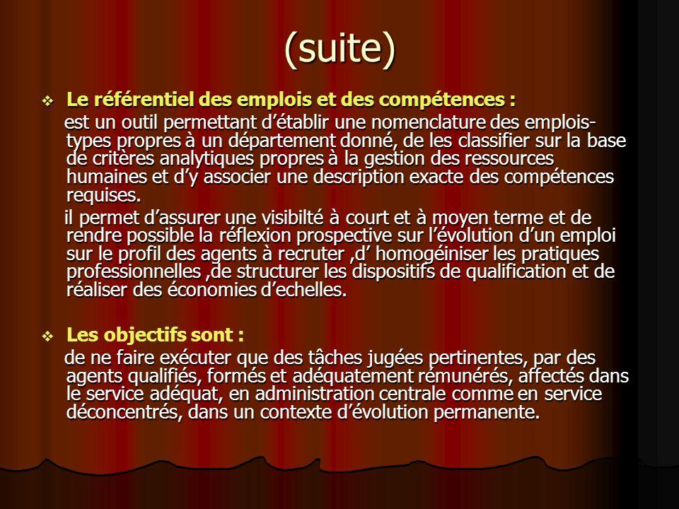 (suite) Le référentiel des emplois et des compétences : Le référentiel des emplois et des compétences : est un outil permettant détablir une nomenclat