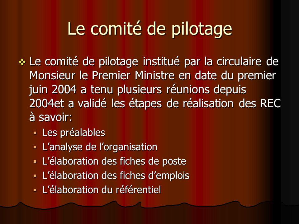 Le comité de pilotage Le comité de pilotage institué par la circulaire de Monsieur le Premier Ministre en date du premier juin 2004 a tenu plusieurs r