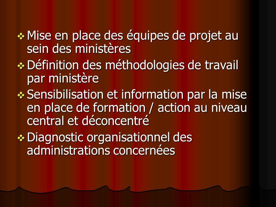 Mise en place des équipes de projet au sein des ministères Mise en place des équipes de projet au sein des ministères Définition des méthodologies de