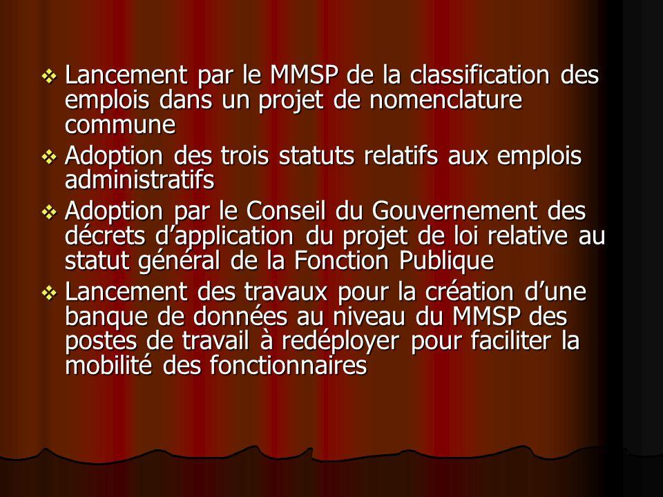 Lancement par le MMSP de la classification des emplois dans un projet de nomenclature commune Lancement par le MMSP de la classification des emplois d