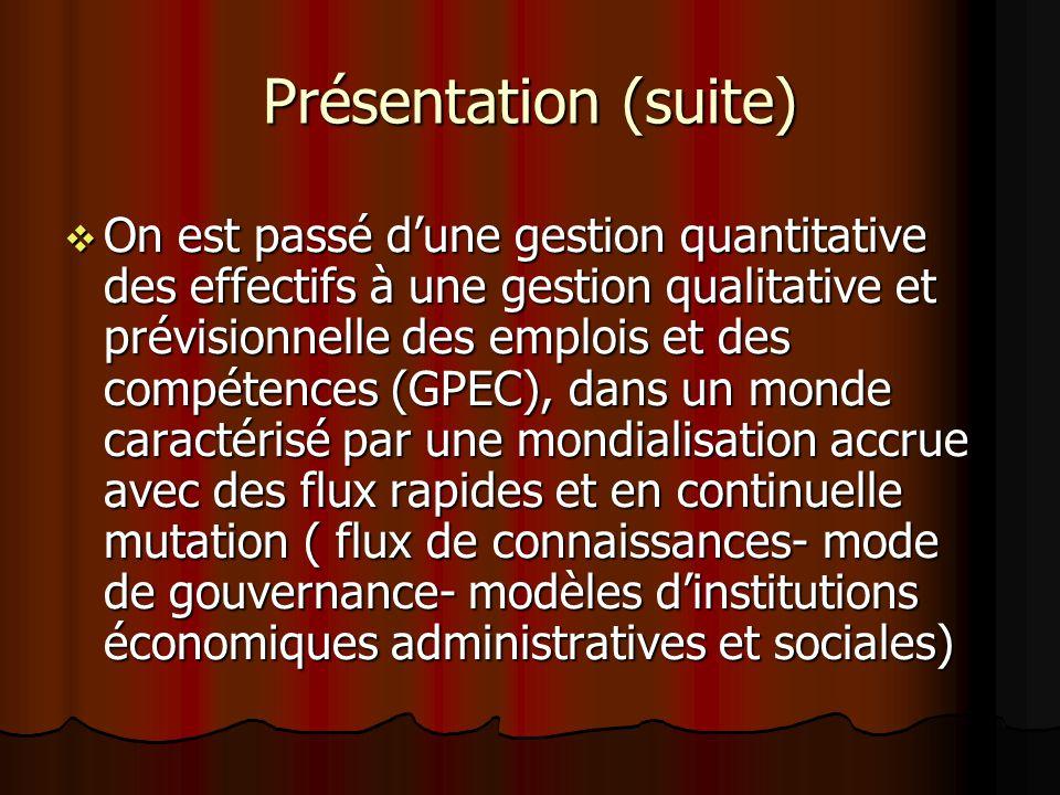 Présentation (suite) On est passé dune gestion quantitative des effectifs à une gestion qualitative et prévisionnelle des emplois et des compétences (