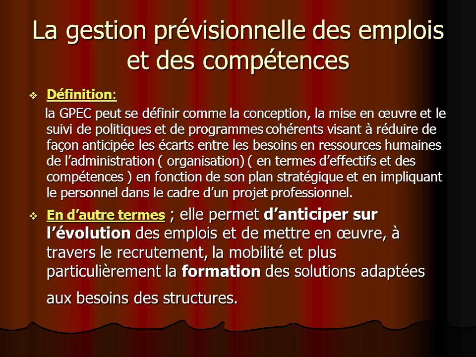 La gestion prévisionnelle des emplois et des compétences Définition: Définition: la GPEC peut se définir comme la conception, la mise en œuvre et le s