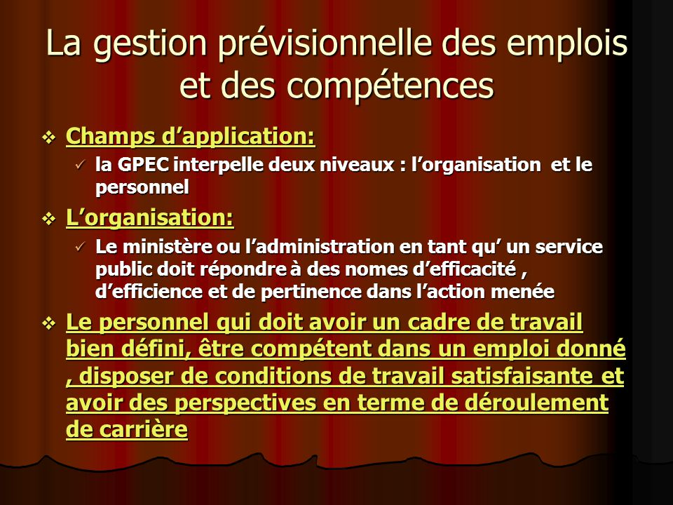 La gestion prévisionnelle des emplois et des compétences Champs dapplication: Champs dapplication: la GPEC interpelle deux niveaux : lorganisation et