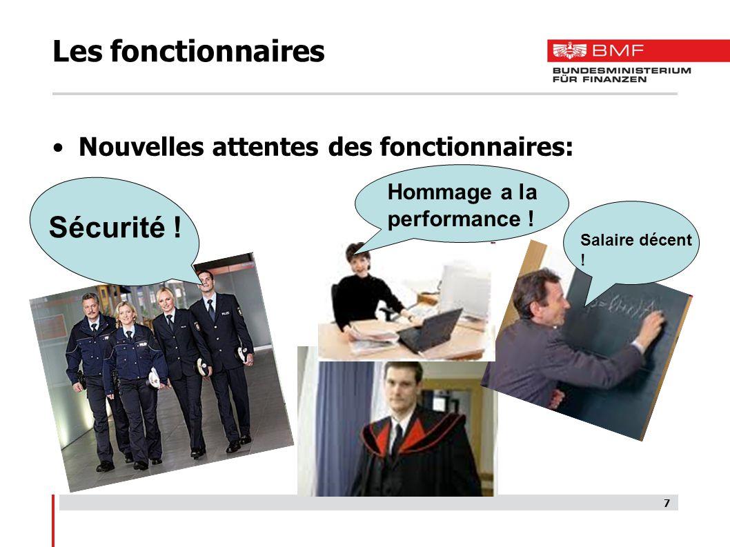 7 Les fonctionnaires Nouvelles attentes des fonctionnaires: Sécurité .