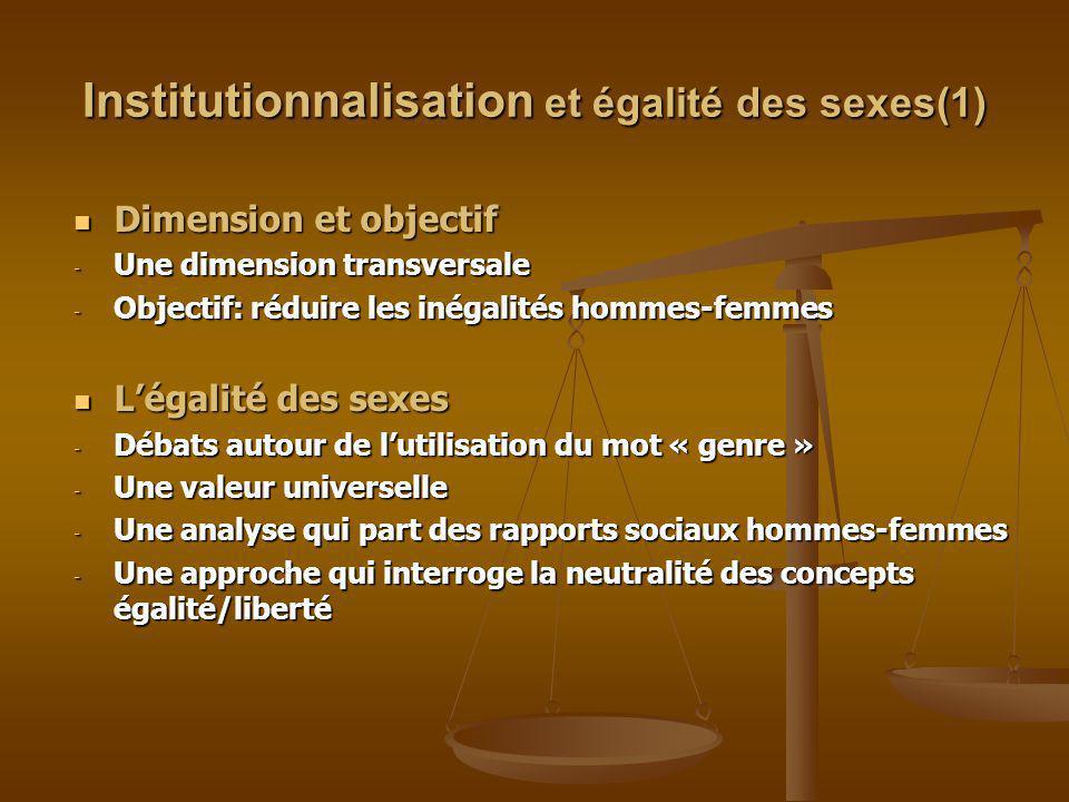 Institutionnalisation et égalités des sexes(2) Une question qui concerne les hommes et les femmes Une question qui concerne les hommes et les femmes - Ce sont les femmes qui ont été à lorigine de cette exigence sociale.